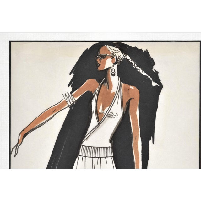 Contemporary Rare Original 1980's French Fashion Drawing Summer Beach Cruise Wear For Sale - Image 3 of 5