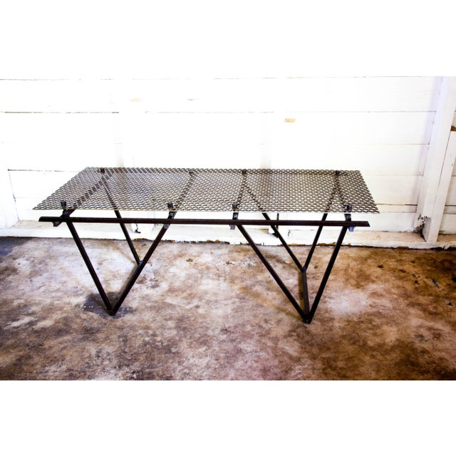 Contemporary Artisan Made Perforated Metal Modernist Coffee Table Bed Entry Bench Tv Media Stand For Sale - Image 3 of 10