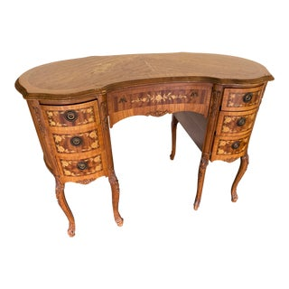 Vintage French Ladies Writing Desk or Vanity With Inlaid Detail For Sale