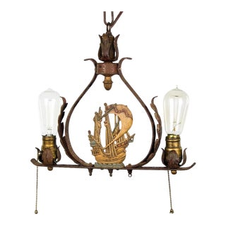 Vintage Brass and Iron Nautical Maritime 2 Light Chandelier For Sale