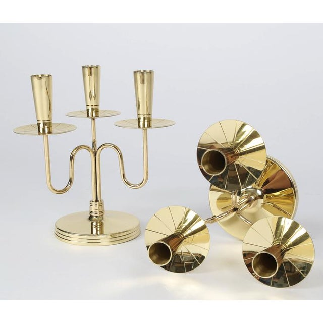 1950's VINTAGE TOMMI PARZINGER SOLID BRASS CANDELABRA- A PAIR For Sale In New York - Image 6 of 10