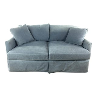 21st Century Crate & Barrel Contemporary Two Cushion Gray Upholstered Velvet Sofa For Sale