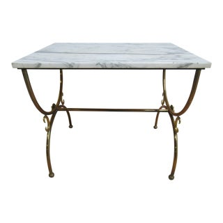 Vintage Jansen Style Brass & Marble End Table