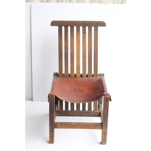 Antique Leather and Oak Accent Chair - Image 2 of 5