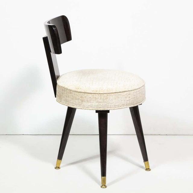 Metal Mid-Century Modern Ebonized Walnut and Gauffraged Oyster Klismos Vanity Chair For Sale - Image 7 of 10