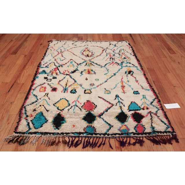 Small Vintage Moroccan Colorful Rug - 4′2″ × 7′ For Sale - Image 9 of 10