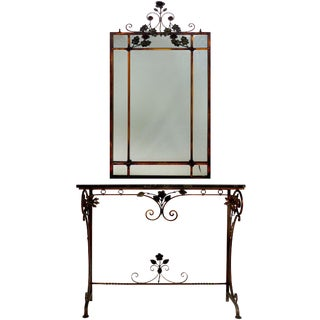 Gilt Iron & Polychromed Marble Top Console W/ Matching Mirror-Set of 2 For Sale