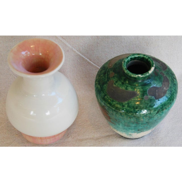 Boho Chic Mid-Century Studio Art Pottery Vases - Set of 2 For Sale - Image 3 of 11