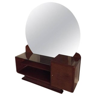 Art Deco Vanity with Large Round Mirror For Sale