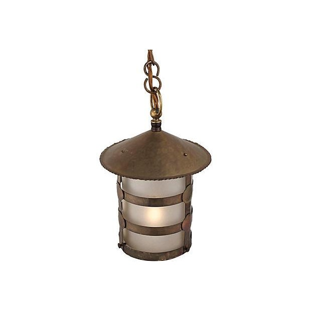 Antique Arts & Crafts Brass Lamp - Image 3 of 5