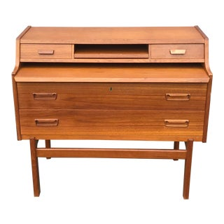 1960s Danish Modern Teak Desk Cabinet Vanity For Sale