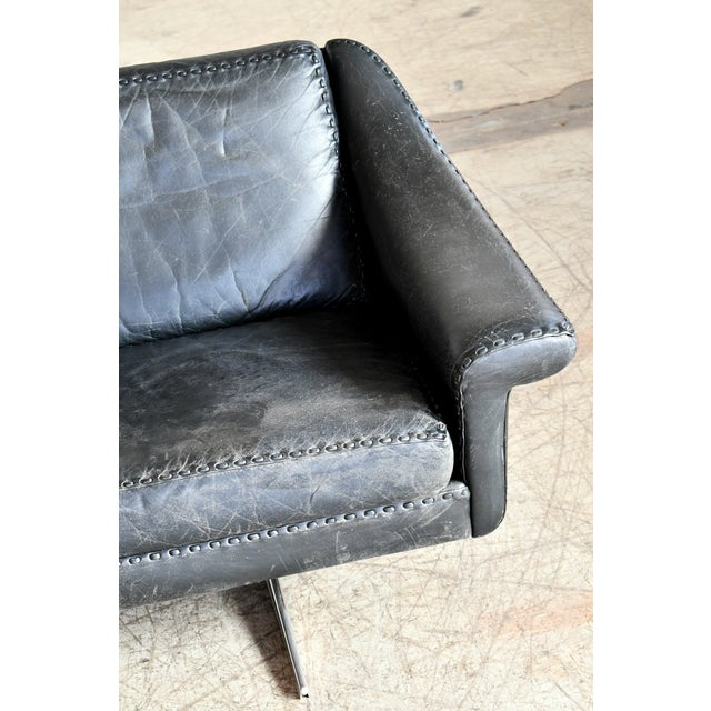 Mid-Century Modern Danish Airport Style Sofa Model Matador in Black Leather by Eran in 1966 For Sale - Image 3 of 13