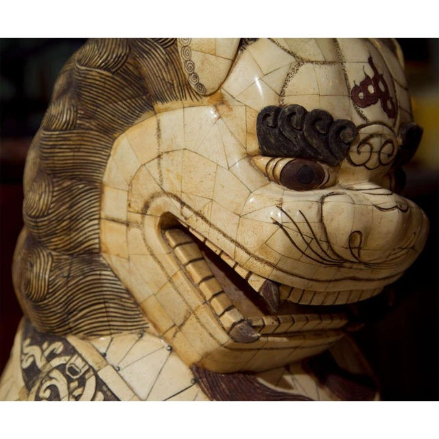 Pair of Palace Sized Bone Foo Dogs Sculptures For Sale - Image 9 of 11