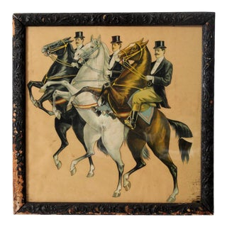 Antique Framed Equestrian Art Wall Decor For Sale