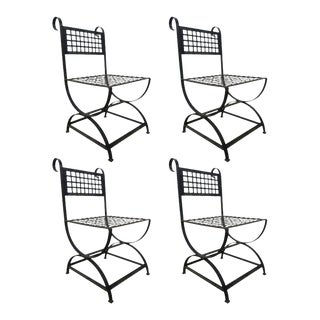 Four French Wrought Iron Chairs For Sale