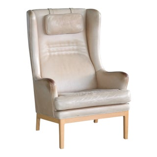 Midcentury Scandinavian Arne Norell High Back Lounge Chair in Worn Tan Leather For Sale