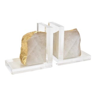 Quartz and Acrylic Bookends - a Pair For Sale