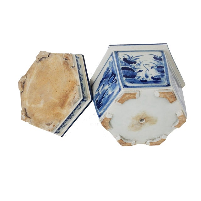 Blue & White Hexagonal Jardiniere - Image 7 of 8