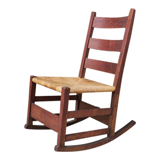 Gustav Stickely Early Arts & Crafts Mission Oak Youth Rocker Chair For Sale