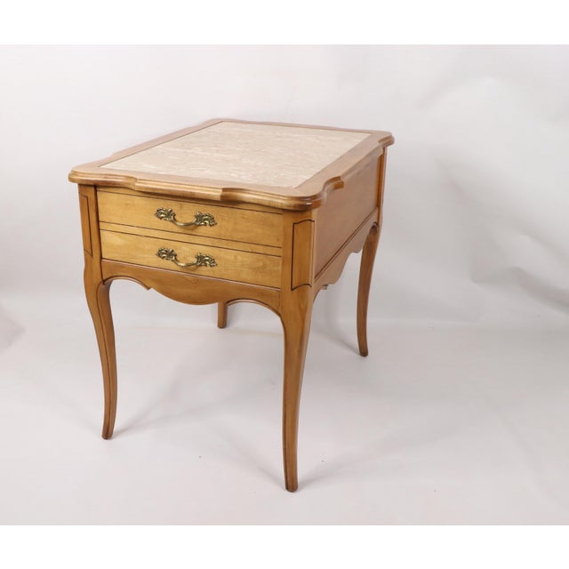 Vintage Hammary French Provincial Marble Inlay Oak Wood End Table Side Table Has some wear from use. Please view all...