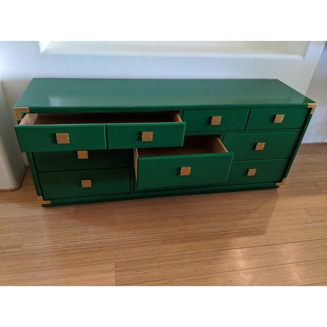 1970s 1970s Thomasville Campaign Gloss Green Dresser Credenza For Sale - Image 5 of 9