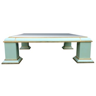 Antonio Pavia Monumental Brass & Mirror Top Coffee Table For Sale