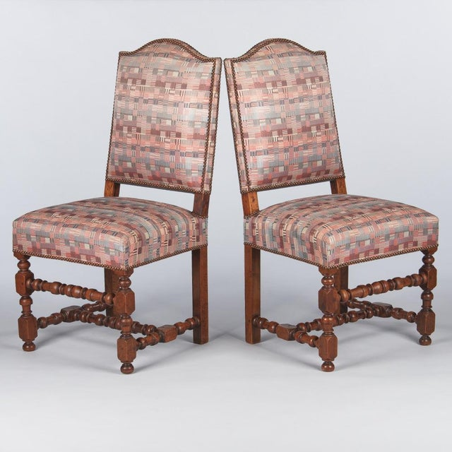 1920s 1920s Louis XIII Style Upholstered Walnut Chairs - Set of 6 For Sale - Image 5 of 13