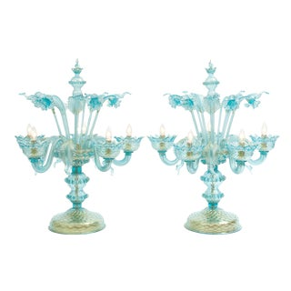 Gold Flecks Design With Brass Base Venetian Pair of Flambeau Table Lamp . For Sale