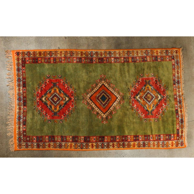 Vintage Moroccan Tribal Green and Orange Rug For Sale - Image 9 of 9