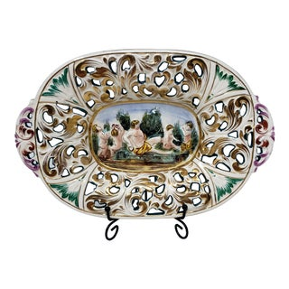 Capodimonte Nudes and Gold Edges Reticulated Tray For Sale