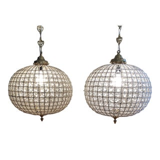 1970s Sphere Crystal Chandeliers - a Pair For Sale