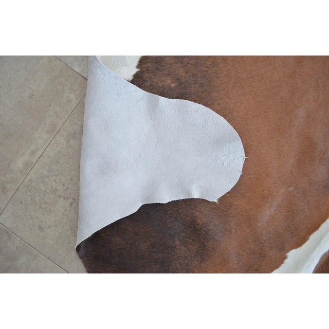 """CowHide Rug Brown White Natural Cow Hide Rug - 4'3"""" X 4'3"""" For Sale - Image 9 of 11"""