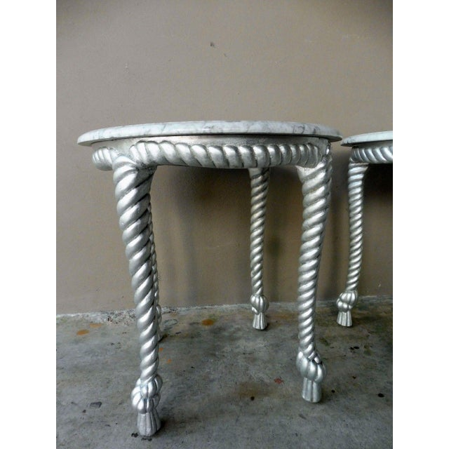 1970s Vintage Hollywood Regency Style Marble Topped Tables - a Pair For Sale In Miami - Image 6 of 9