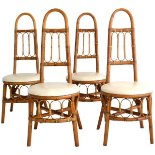 Set of Four Midcentury Bent Bamboo Game Table Chairs or Side Chairs For Sale