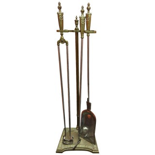 William and Mary Style Fireplace Tools Set, 19th Century For Sale