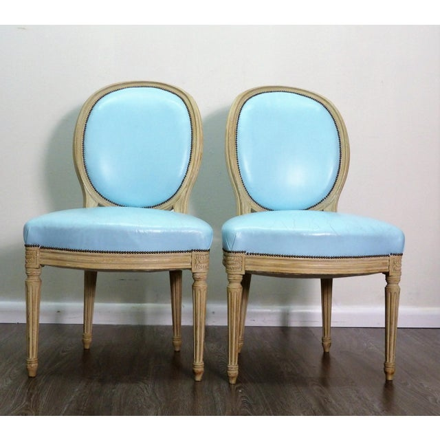 Classic Balloon Back Chairs With Tiffany Blue Leather Upholstery - a Pair For Sale - Image 9 of 9