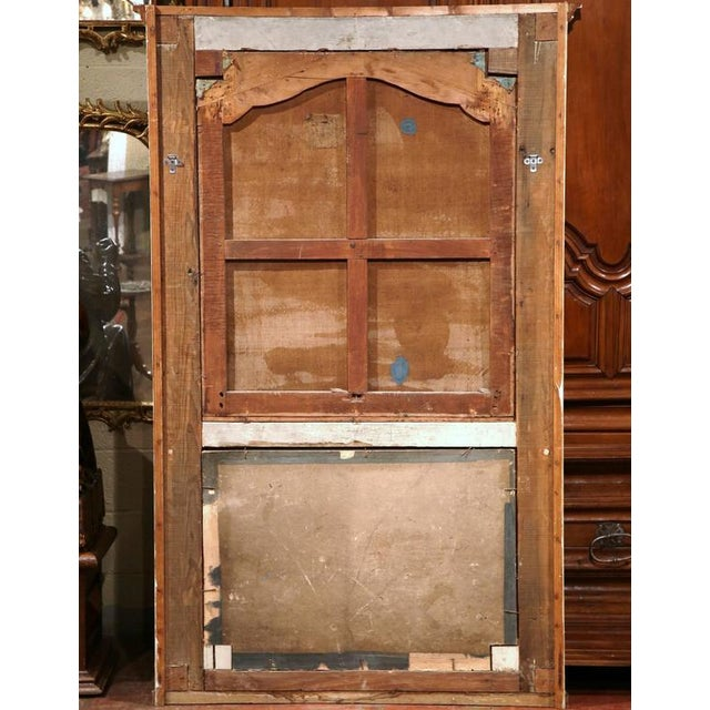 Canvas Large 18th Century French Painted Trumeau Mirror From Provence For Sale - Image 7 of 7