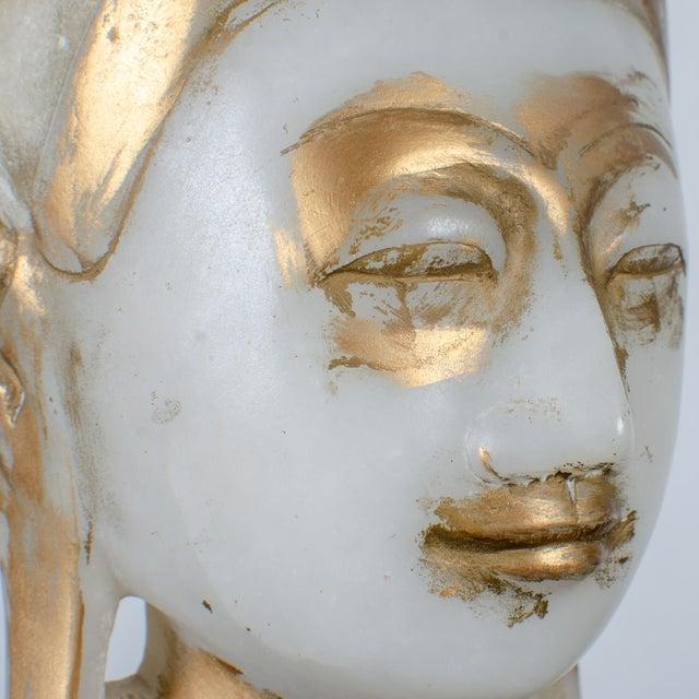 Mandalay Alabaster Shakyamuni Buddha Sculpture For Sale - Image 10 of 12