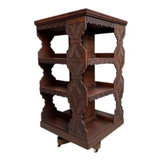 Antique English Carved Oak Revolving Rolling Bookcase For Sale