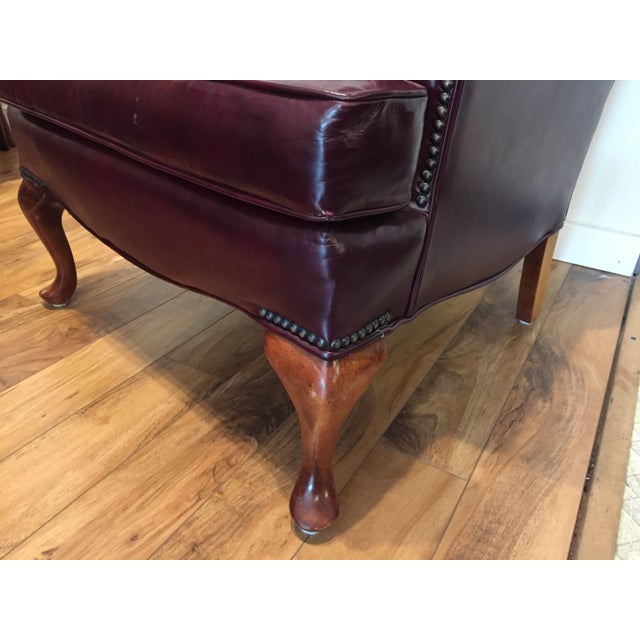Burgundy Leather Wingback Chair With Ottoman A Pair