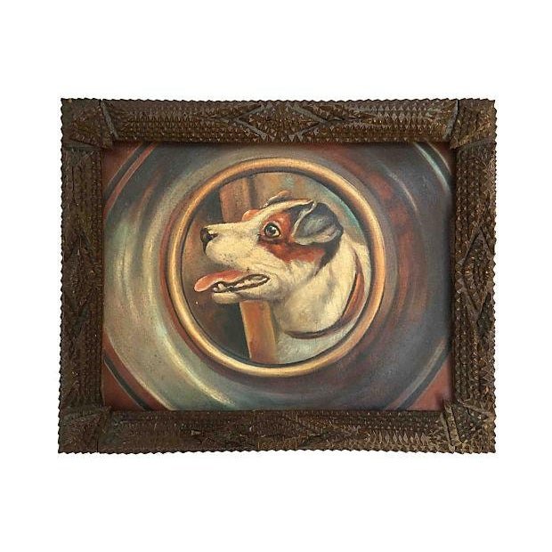 Jack Russell Portrait in Tramp Art Frame - Image 1 of 7