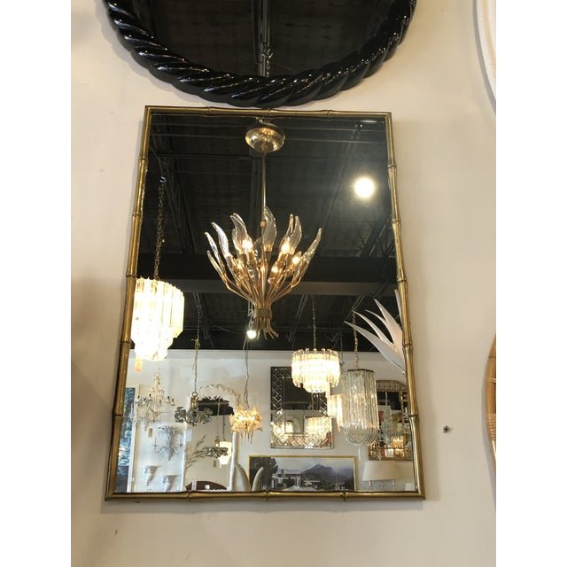 Vintage Hollywood Regency Faux Bamboo Brass Wall Mirror For Sale - Image 9 of 13