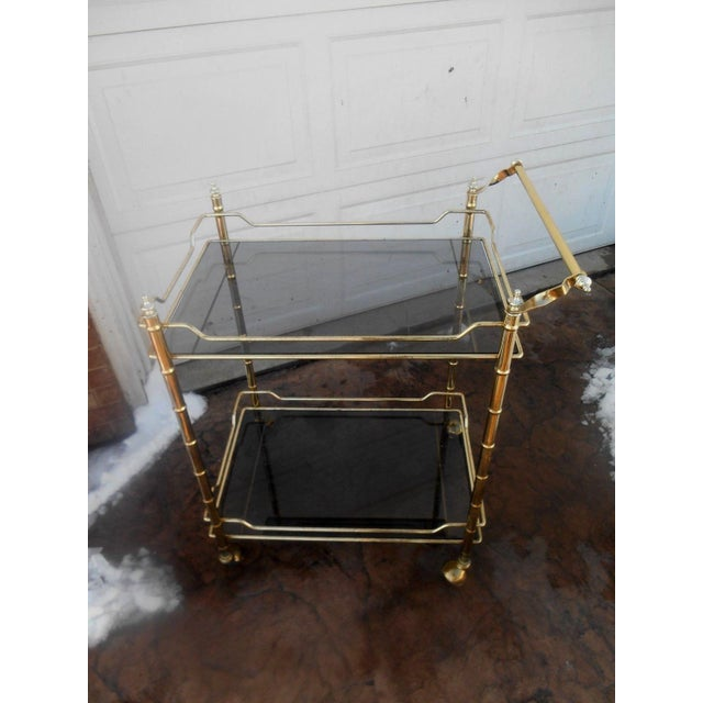 Vintage Mid-Century Modern Faux Bamboo Brass Rolling Bar Cart For Sale - Image 4 of 7