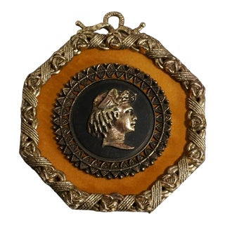 Vintage Neoclassical Style Wall Plaque With Cameo For Sale