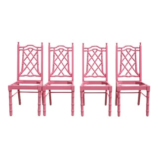 Free Shipping!!! Pink Faux Bamboo Hollywood Regency Dining Chairs - Set of 4