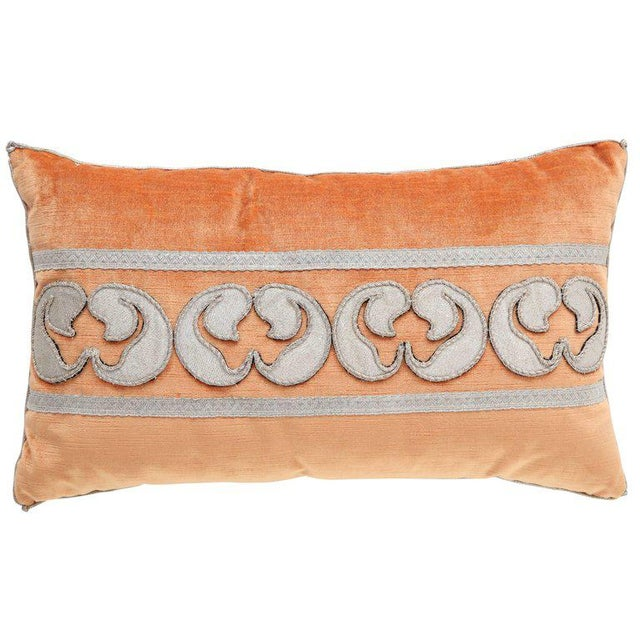 Modern Velvet Pillow With Antique Metallic Accents For Sale In New York - Image 6 of 6