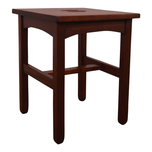 Antique Mission Style Mahogany Taboret Side Table For Sale