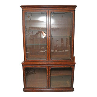 Large Antique English Victorian Burl Walnut With Ebony Beading Library Bookcase For Sale