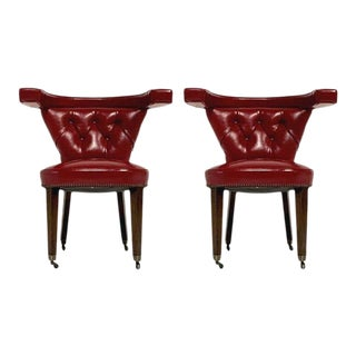 """1950s Dunbar Style Red Tufted Sculptural Midcentury """"Cock Fighting"""" Chairs George III - a Pair For Sale"""