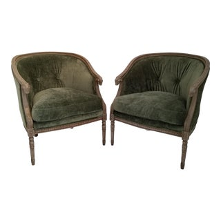 Vintage Ram's Head Bergere Chairs - a Pair For Sale